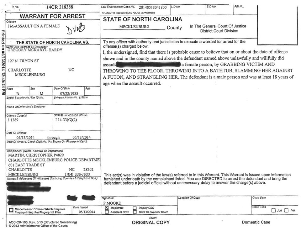 Dallas-Cowboys-Carolina-Panthers-Greg-Hardy-Arrest-Report